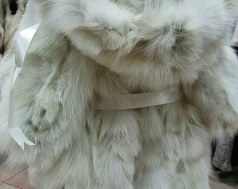 New!!! GIRL'S Natural Real with Detachable Hood Fox Fur coat!
