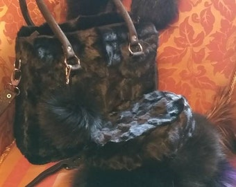 New!Natural,Real BLACK MINK Fur Bag!