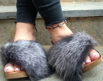 New Real Silver FOX Fur  MULES!