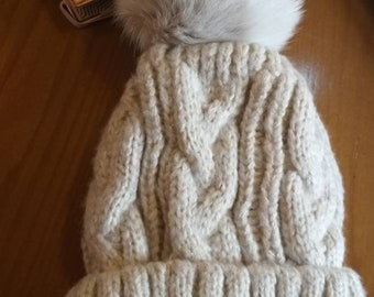 New!Modern Cap  with Real Fox pompon on the top!