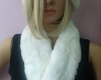 New!!!Natural Real WHITE REX collar-scarf