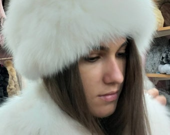 New!Natural,Real White Fox Fur HAT!