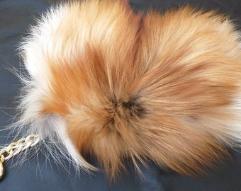 New!Natural,Real Small RED FOX Fur Wallet-Keychain-mobile case!