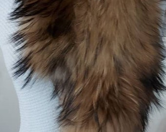 New Natural Real Beautiful FLUFFY super soft RACCOON Scarf!