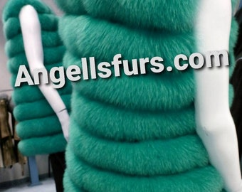New in!Natural Real Amazing COLORS FULLSKIN FOX Fur Vests!