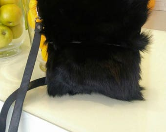 New!Natural,Real Black RACCOON Small Fur Bag