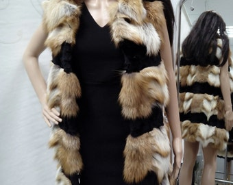 New!Natural Real Red Fox Fur vest with black fur straps!