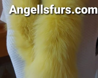 YELLOW FOX SCARF!Brand New Real Natural Genuine Fur!