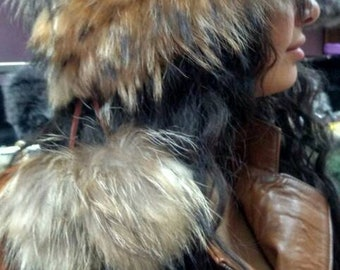 New!Natural,Real Light Golden Brown Raccoon Fur HAT!