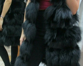 NEW! Natural,Real LONG Black Fox Fur Vest with leather stripes! New Model!
