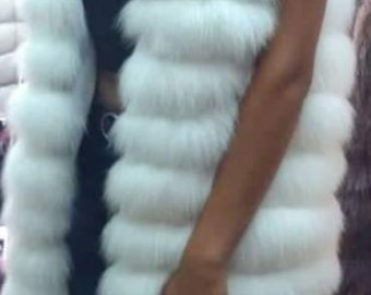 New,Natural,Real Amazing WHITE FULLSKIN FOX Fur Vest!
