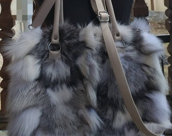 New!Natural,Real Silver white FOX FUR BAG!!!