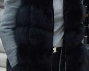 New,Natural,Real Black Hooded  Fullskin Fox Fur Vest!!!
