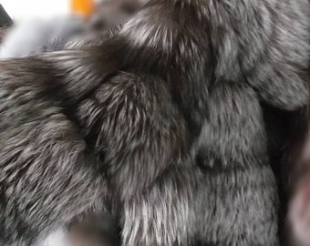 MEN'S New!Real Natural SILVER FOX Hooded  Fur Jacket!Order in Any model or color!