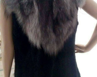 New model!Real natural Silver Fox Fur Vest!