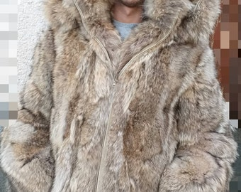 Mens New Real Natural Hooded Coyote Fur Coat With Detachable Hood