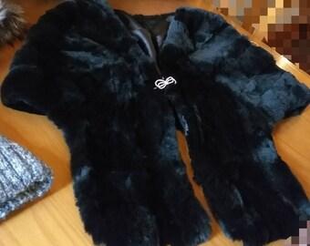 NEW!!!Natural,Real Black REX Fur Shawl-Etol-Scarf!