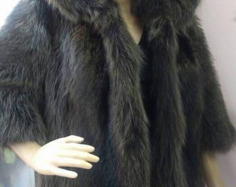 New!Natural Real Fullskin RACCOON Hooded short Fur jacket!