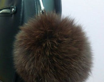 New! FOX POMPOM-keychain in Beautiful  Brown color!