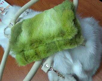 New!Natural,Real Sheared LIME color Fox Wallet-coin-Phone case!