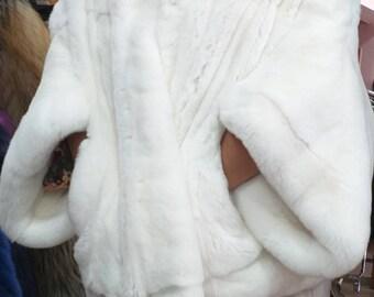 New! Fine Natural Real Fullskin White Rex,One Size Fur Jacket!