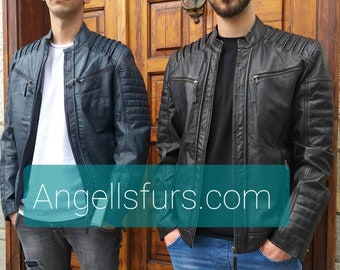 MEN'S New Real Natural Leather jacket!