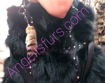 New!Natural,Real Black Fox FUR BAG!