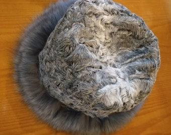 New!Natural,Real Astragan Fur HAT with Fox !