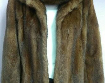 Men'S New Real Natural Full Pelts Excellent Quality HOODED MINK Fur Coat!