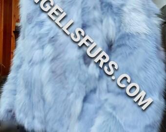 Men's New!Real Natural LIGHT BLUE Color FOX Hooded Short Fur Jacket!
