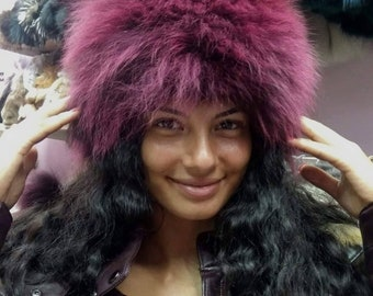 New!Natural,Real BORDEAUX Fox Fur HAT!