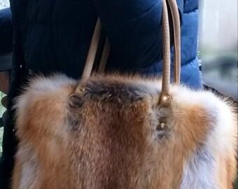 New!Natural,Real Fullskin RED FOX Fur Bag!