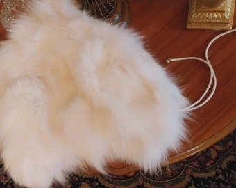 New,Natural Real WHITE FOX Fur Hood!