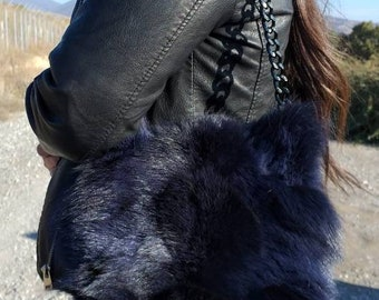New!Natural,Real dark Blue Fox Fur Bag!