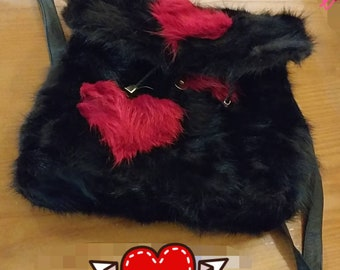 Brand New and Natural,Real Black Rabbit Fur Backpack bag with Red Fox Hearts on top!