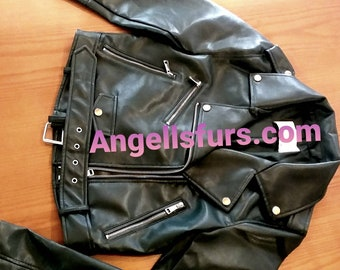 Natural Real NEW MODEL Short  BIKER Black Leather Jacket!