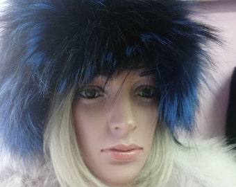 New!Natural,Real colored in Blue Silver Fox Fur HAT!