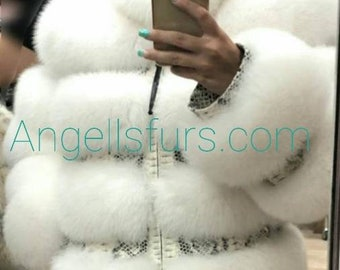 NEW!!!Natural Real Full Fox Fur jacket with DETACHABLE SLEEVES!