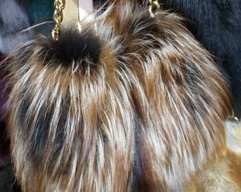 New!Natural,Real Crystal FOX Small Fur Bag!