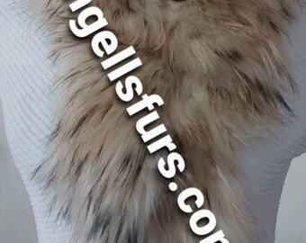 New Natural Real Beautiful FLUFFY super soft Light shades RACCOON Scarf!