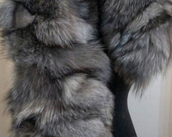 New!Natural Real SILVER Fox  scarf-collar!