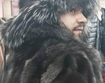 Men's New!Natural,Real SILVER FOX Fur Trapper HAT!