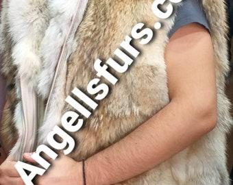 Men's New Real Natural KNEE LENGTH HOODED Coyote Fur Vest!
