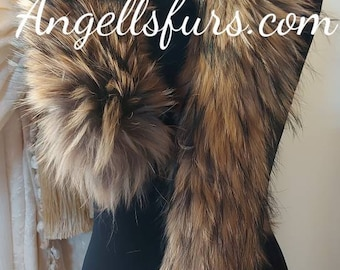 RACCOON FUR SCARF!Fluffy and soft!Brand New Real Natural Genuine Fur!