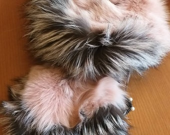 New!!!Beautiful Natural Real PINK and Silver Fox  scarf! Order in Any color!