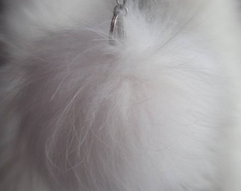 New! Real White FOX Pompon-Keychain! Free shipping for any 2 items of our collection!