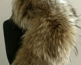 New Natural Real Golden Brown RACCOON Fur collar!