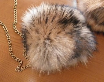 New Natural,Real Golden brown colors RACCOON Fur Shoulder Bag!