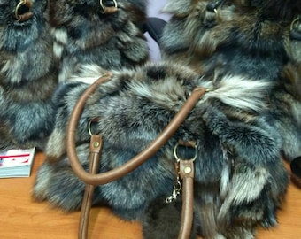 New!Natural,Real Crystal FOX FUR small bowling BAG!!!