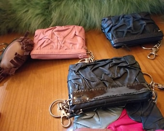 New!Natural, Real Leather Wallet Keychains!